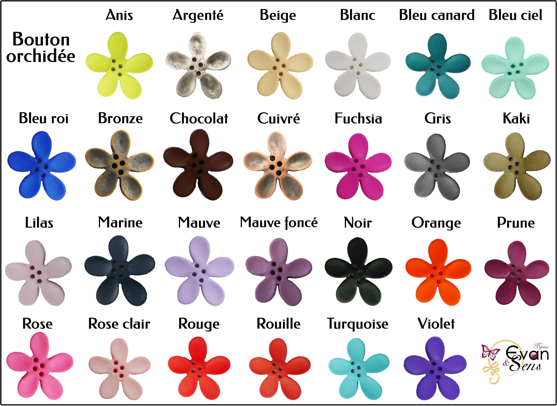 Plaquette de couleurs bouton orchidée